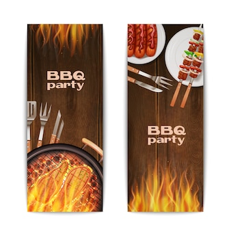 Bbq grill party vertical banners set