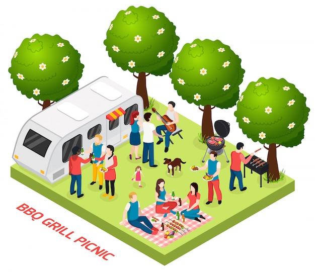 屋外の風景の木と友人バスケットランチベクトル図と生活トレーラーとバーベキューグリルピクニック等尺性組成物