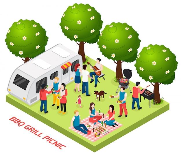 Composizione isometrica in picnic della griglia del bbq con gli alberi all'aperto di paesaggio e rimorchio vivente con l'illustrazione di vettore del pranzo del canestro degli amici