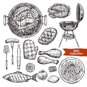 Набор эскизов барбекю гриль. коллекция рисованной барбекю