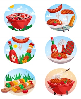 Bbq grill stickies set