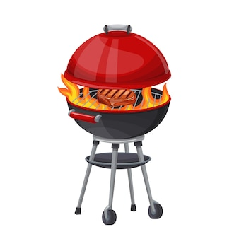 Bbq grill with and steak icon illustration. round kettle barbecue grill.
