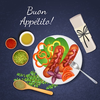 Bbq grilled sausages served with various kinds of sauce vegetables and herbs realistic illustration