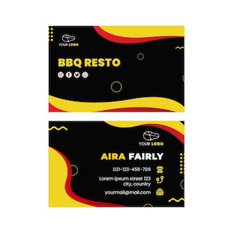 Bbq horizontal double-sided business carddesign template