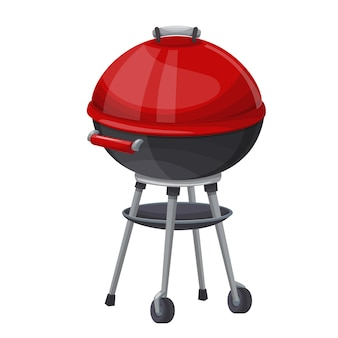 Bbq icon illustration. kettle barbecue grill with cover.