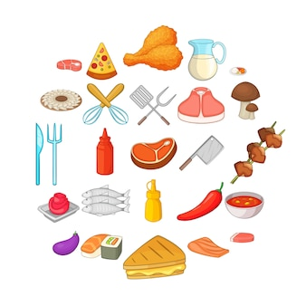 Bbq icons set. cartoon set of 25 bbq icons for web isolated on white