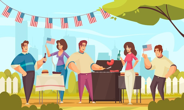 Bbq independence day america composition with outdoor landscape and group of friends having good time outdoors  illustration