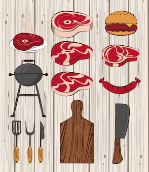 Bbq ingredients and utensils
