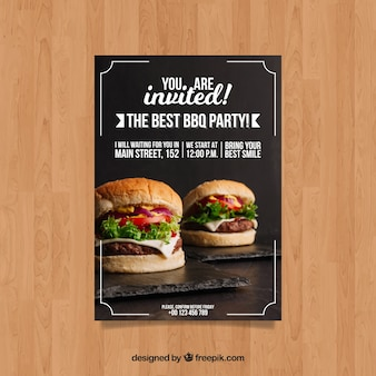 Bbq invitation template with hamburger photo