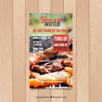 Bbq invitation template with meat photo