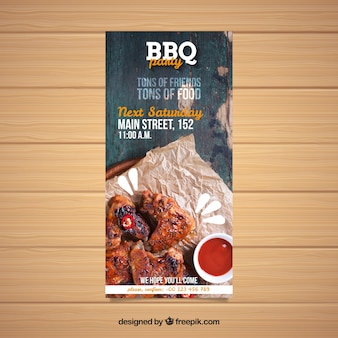 Bbq invitation template with photo