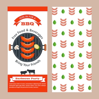 Bbq. a juicy steak roasting on the grill.  vector illustration. yummy.