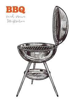 바베큐 주전자 그릴 개요 블랙 스케치