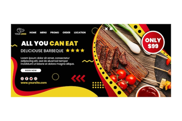 Bbq landing page template with food