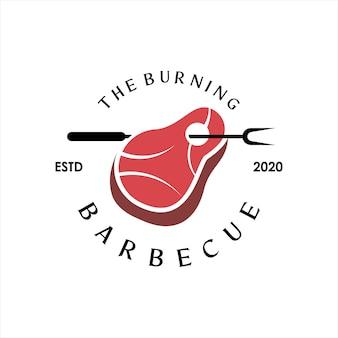 Барбекю логотип простой барбекю векторная графика