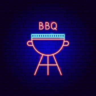 Bbq neon label. vector illustration of barbecue promotion.