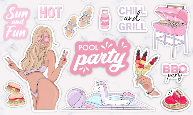 Bbq objects and quote stickers for pool party