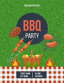 Bbq outdoor party vertical poster with place for text. announcement cooking meat at garden