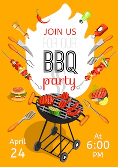 Bbq party announcement flat poster