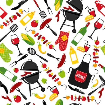 Bbq party background on white background with symbols of bbq. seamless pattern.