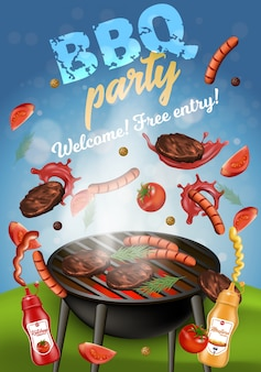 Bbq party banner, grilling machine with meat.