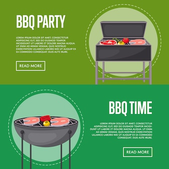 Bbq party banners with meats on barbecue