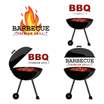 Bbq party. barbecue set in vector style. bbq grill, summer style