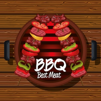 Bbq party best meat vector illustration design