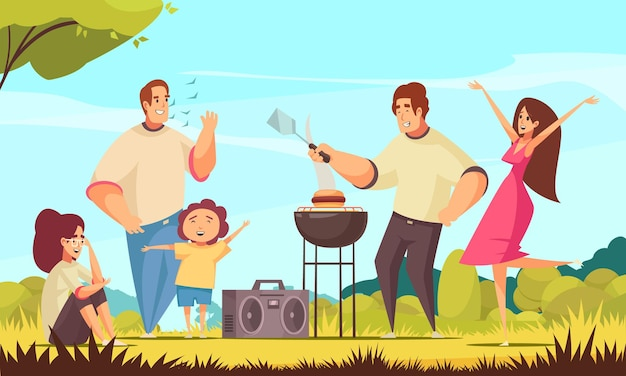 Bbq party composition with sunny weather outdoor landscape and group of kids and adult doodle characters  illustration