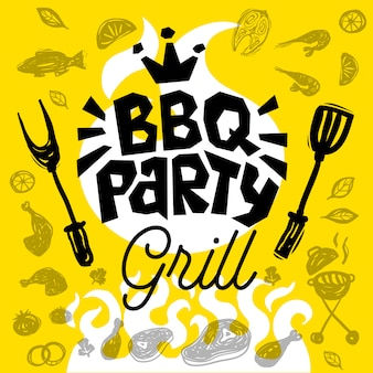 Bbq party food poster.