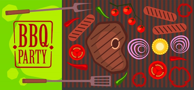 Bbq party illustration of grill, meat, vegetables.
