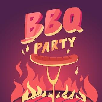 バーベキューパーティー、漫画風のイラスト。グリルと肉。