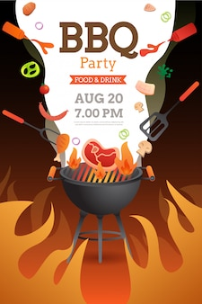 Bbq party invitation ,card or poster template with grill