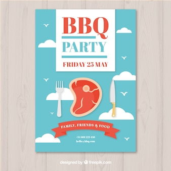 Bbq party invitation in flat design