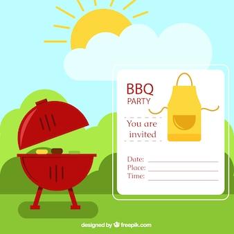 Партия приглашение bbq в пейзаж