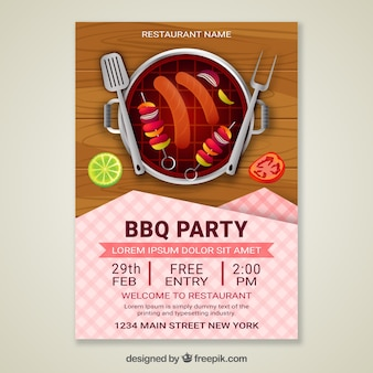 Bbq party invitation in realistic design