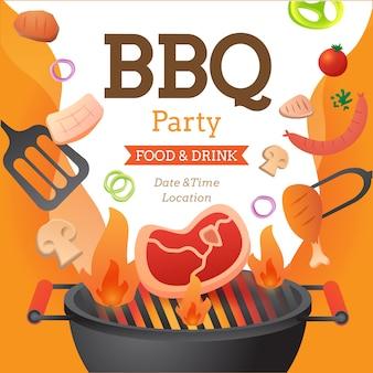 그릴과 음식 전단지 벡터 평면 스타일 일러스트와 함께 바베 큐 파티 초대장 포스터 템플릿.