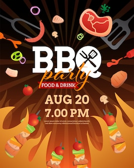 Bbq party invitation template with grill