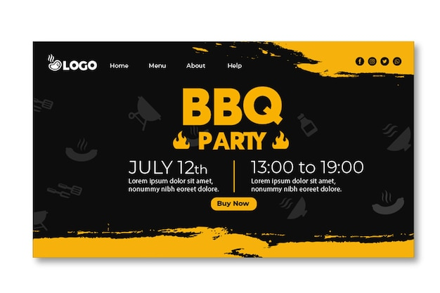 Bbq party landing page template