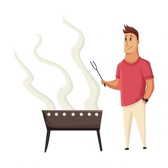Барбекю вечеринка. человек с грилем. пикник со свежими стейками и колбасками. счастливый улыбающийся человек персонаж приготовления барбекю гриль. плоская иллюстрация шаржа