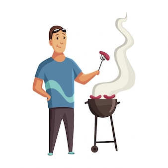 Bbq party. man with a barbecue grill. picnic with fresh food steak and sausages. happy smiling man character barbecuing.  flat cartoon illustration