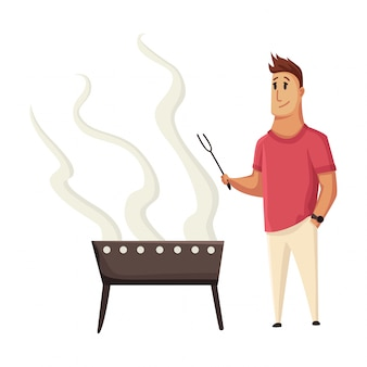 Bbq party. man with a barbecue grill. picnic with fresh food steak and sausages. happy smiling man character cooking a barbecue grill. flat cartoon illustration