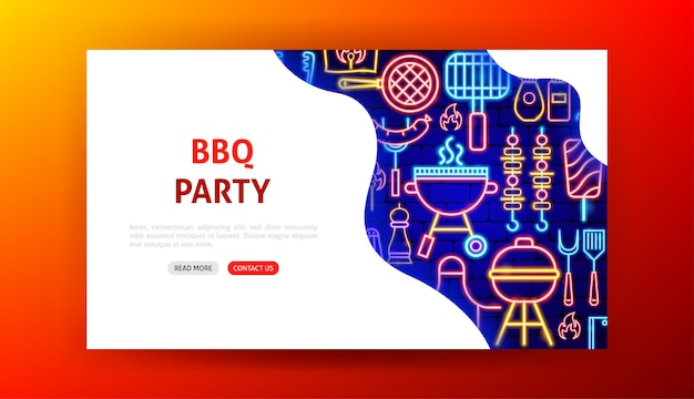 Bbq party neon landing page. vector illustration of barbecue promotion.