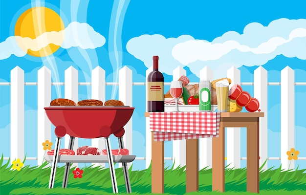 바베큐 파티 또는 피크닉. 와인 한 병, 야채, 치즈, 맥주 캔이 있는 테이블. 바베큐가 가능한 전기 그릴. 스테이크, 고기, 소시지 요리, 바베큐 굽기. 벡터 일러스트 레이 션 평면 스타일