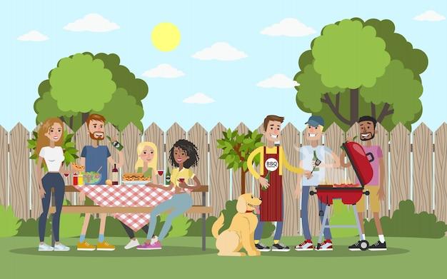 Барбекю вечеринка на свежем воздухе с друзьями в саду.