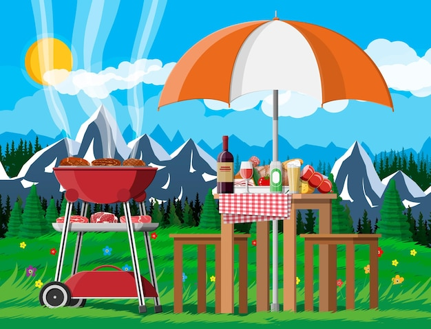 Bbq party or picnic. table with bottle of wine, vegetables, cheese, can of beer.