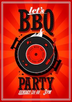 グリルのビニールレコードとバーベキューパーティーのポスターデザイン