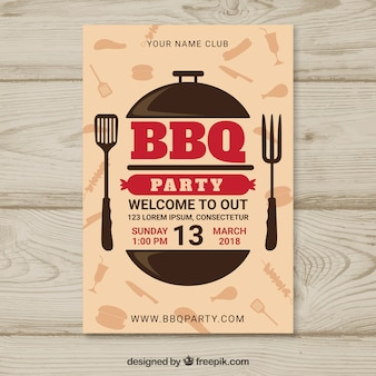 Bbq party poster in flat design