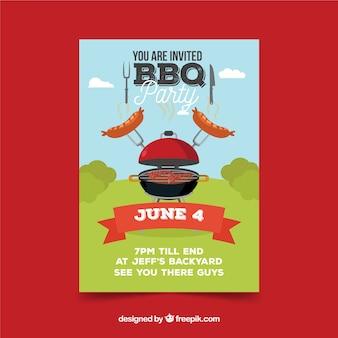 Постер bbq в плоском дизайне