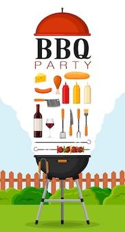 Приглашение на вечеринку барбекю с грилем и едой. набор элементов гриля для барбекю